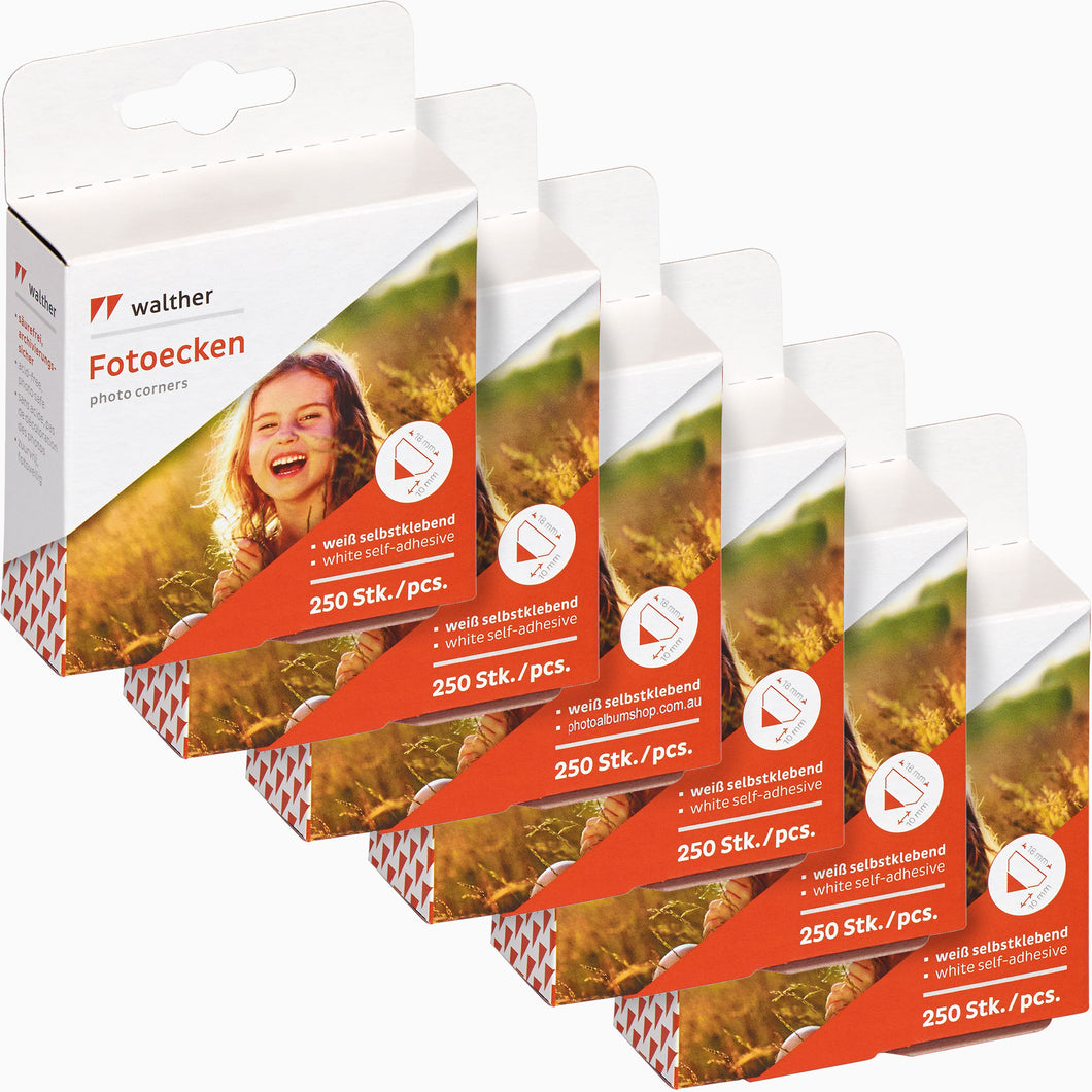 6 x Walther 250 clear photo corners (6 PACK)