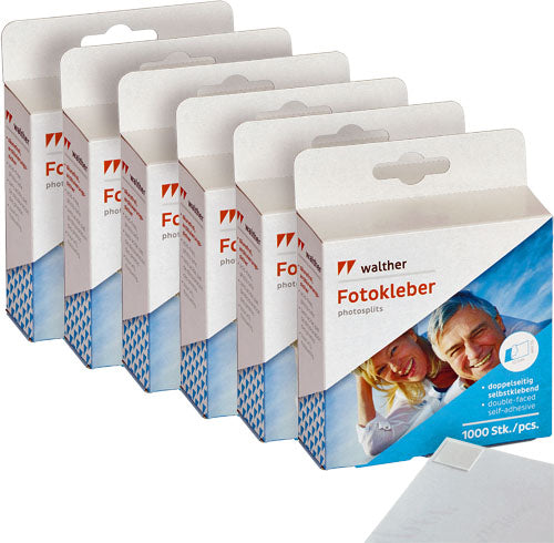 6 x Walther 1000 double-sided photo tabs (6 PACK)