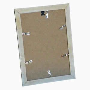 Reverse of Home HO030W A4 timber photo frame showing six metal swivel clips and metal hanger