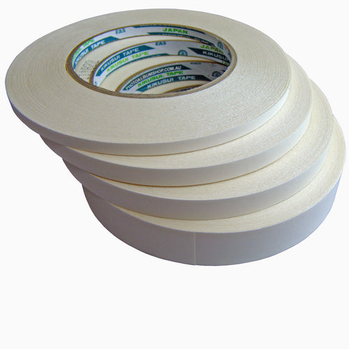 Kikusui 190 Double-Sided Adhesive Tapes (6, 9, 12, 18 or 24mm x 50m)