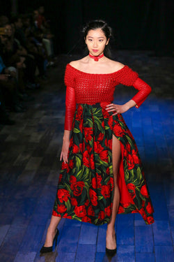 Captivating Tulips Skirt in Red