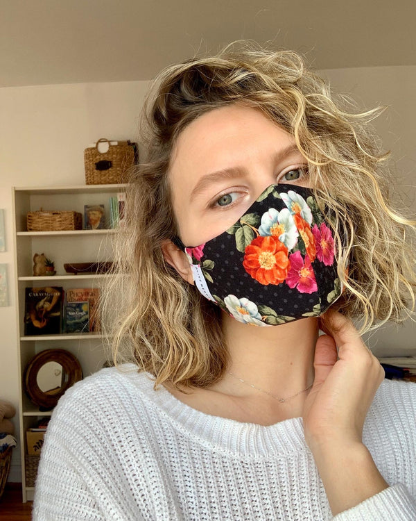 Polka Dots and Flowers Cotton Mask
