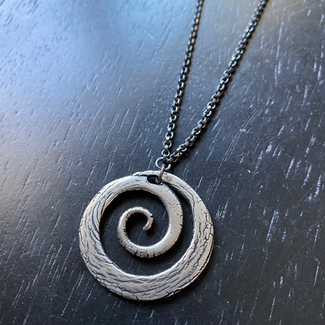 Large SILVER Carved Spiral on Sterling Silver Necklace