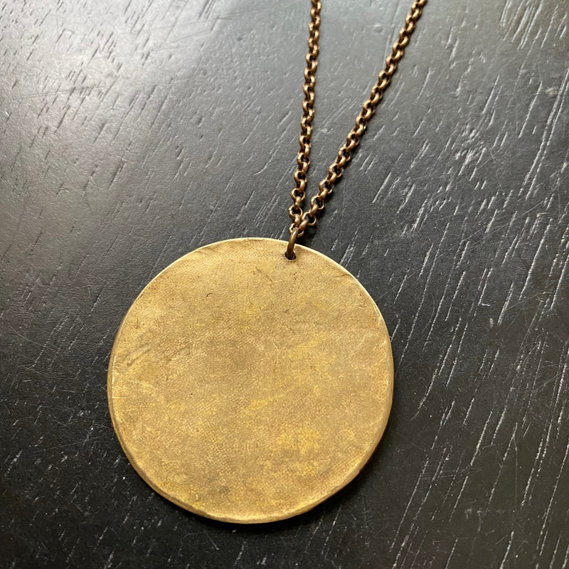 NEW! XL BRASS FULL Moon Necklace