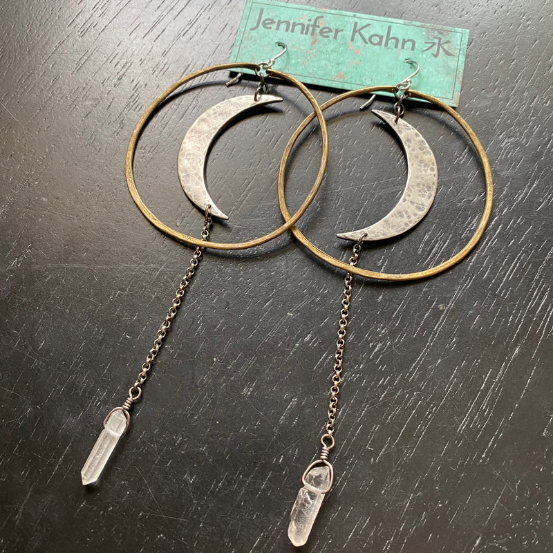 NEW! XL SILVER Crescent Moons / BRASS Hoops / Quartz Crystal Earrings!