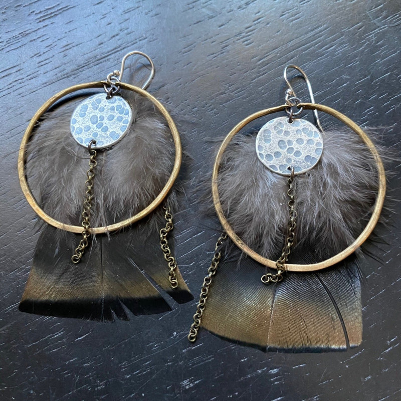 ^^ NEW! FEATHER EARRINGS- Medium Brass Hoops and Full Silver Moons and chains