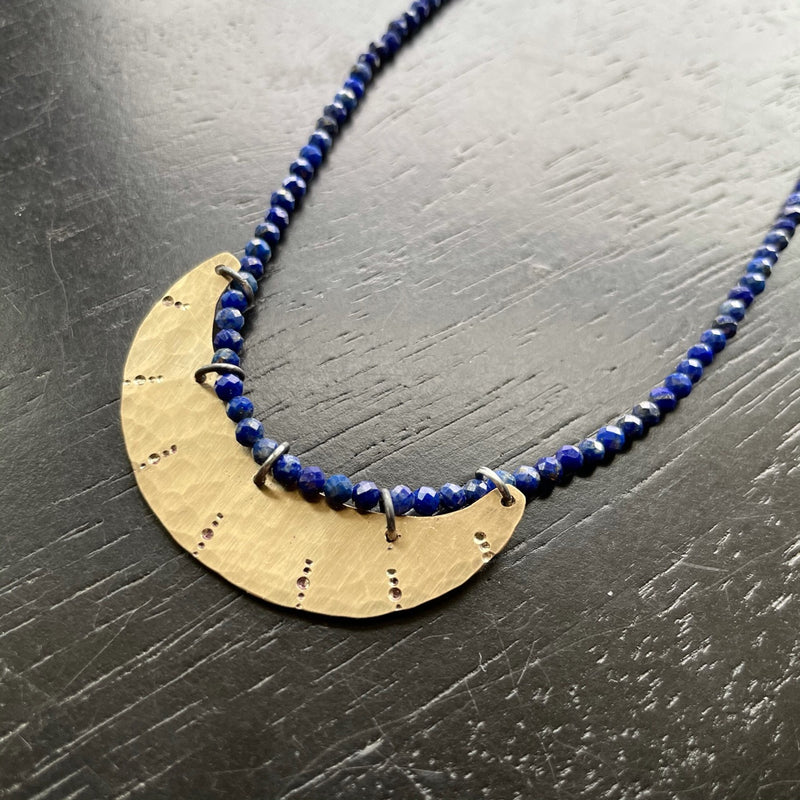 NEW! Stamped Gold Crescent Necklace with Lapis Beads