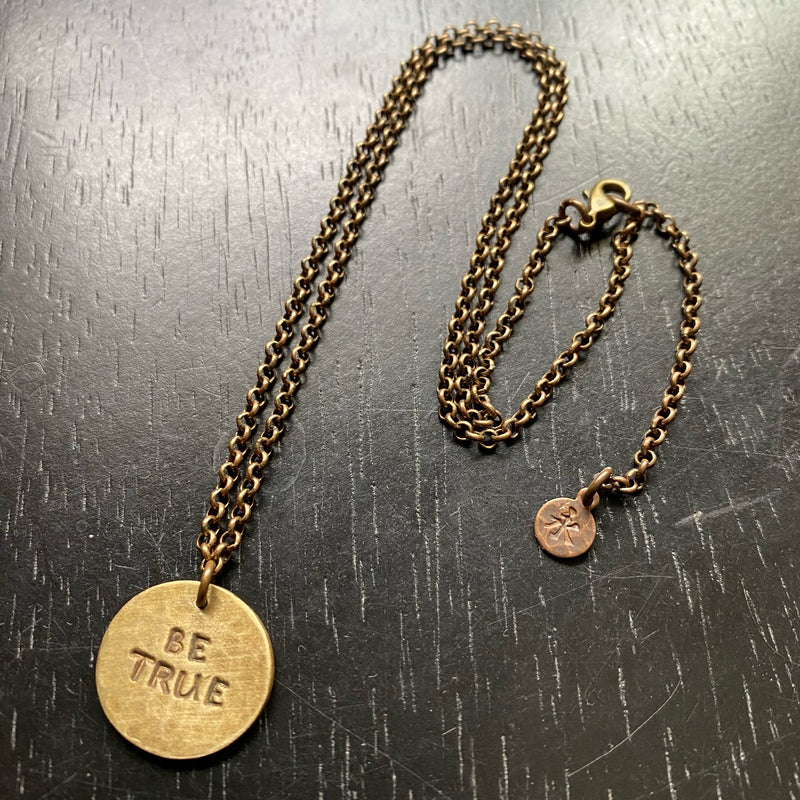 """BE TRUE"" BRASS Circular Medallion with Brass Oxidized Chain Necklace"