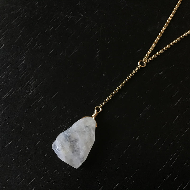 "Raw Rainbow Moonstone GOLD ""Y Necklace"""