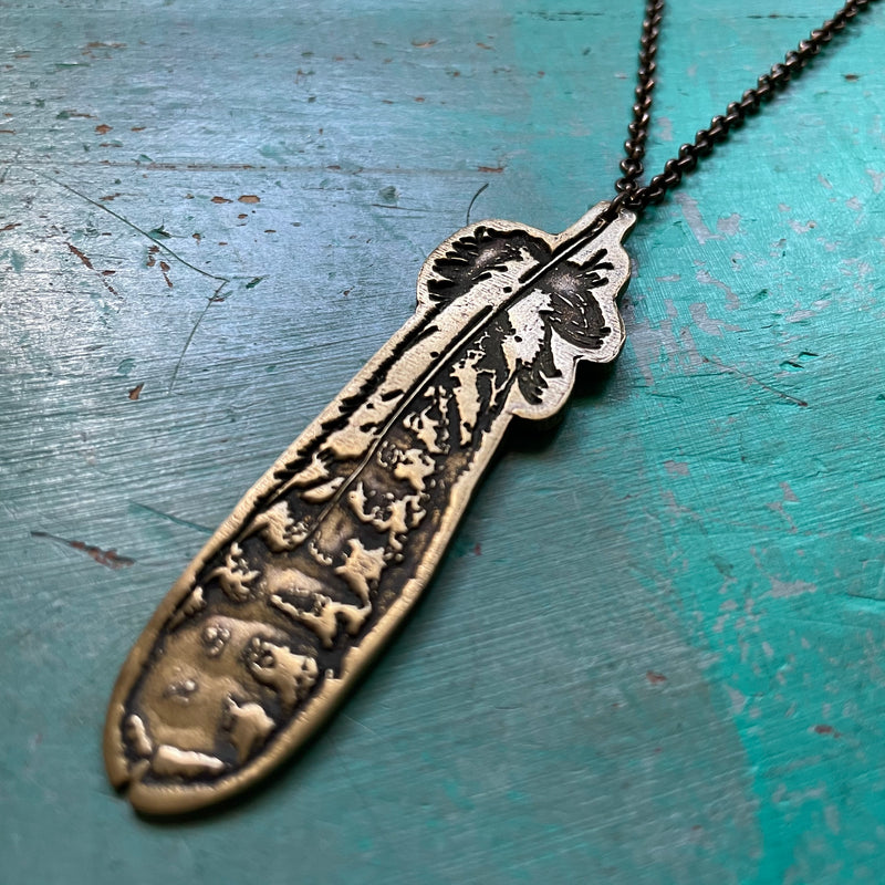 Small Brass Blade Necklace with Amazonite Beads
