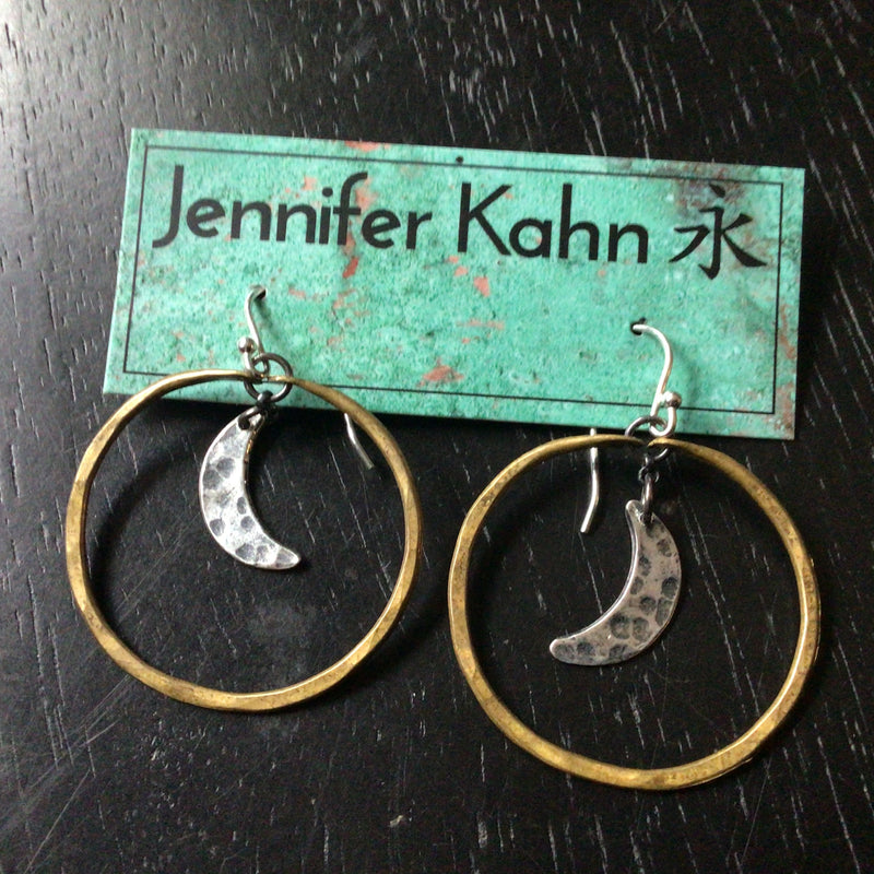 Small Moon Hoops: Brass hoops with silver moons