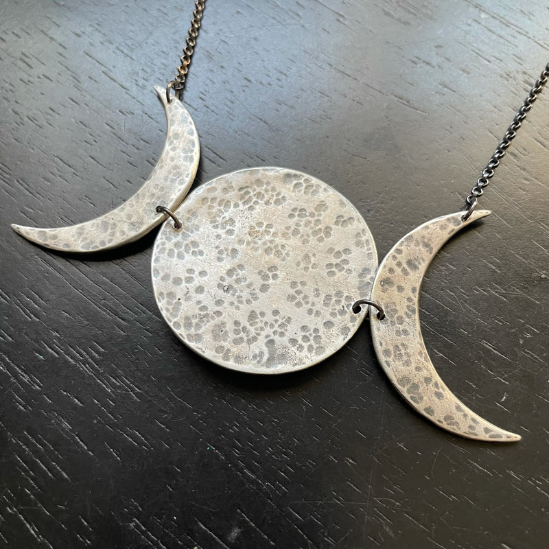 NEW! XL SILVER 3 Moon Phase Necklace, Horizontal