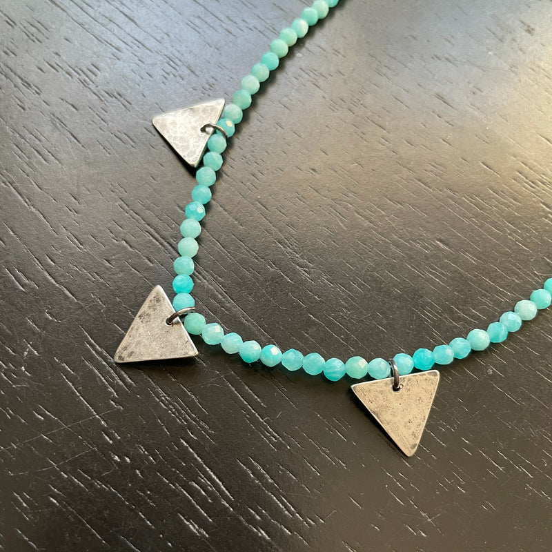 NEW! TINY SILVER Triple Triangles with Faceted Amazonite necklace