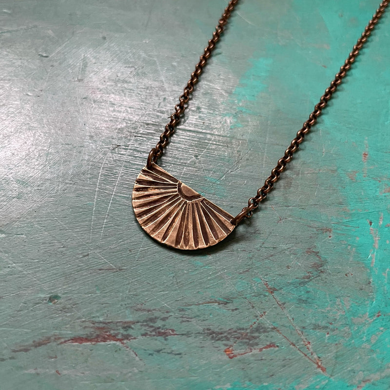 NEW! Small BRASS SUNBURST Necklace (Facing Upward)