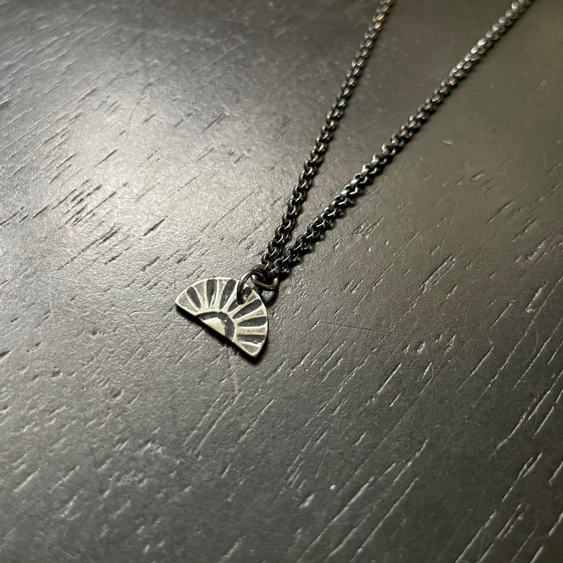 NEW! TINY SILVER SUNBURST Necklace (Facing Downward)