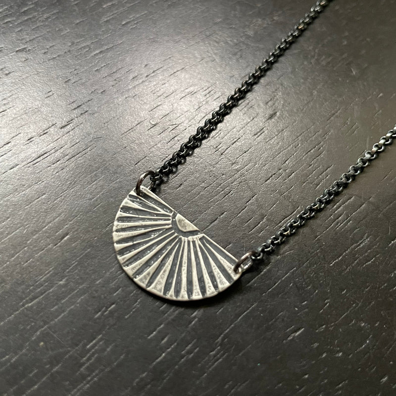 NEW! Small SILVER SUNBURST Necklace (Facing Upward)