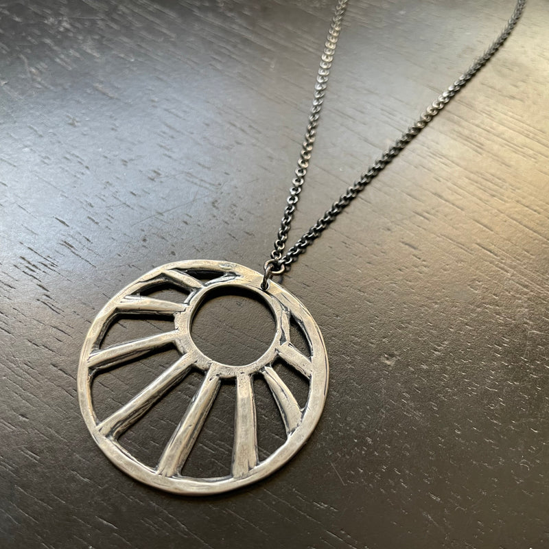 "NEW! XL STERLING SILVER ""OPEN"" SUN PENDANT NECKLACE"
