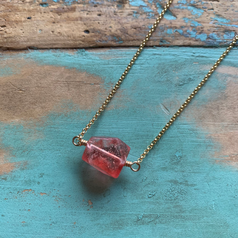 Strawberry Quartz Gold Necklace