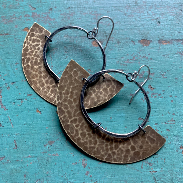 Mezzaluna Earrings - small silver hoop, hammered thin brass blade