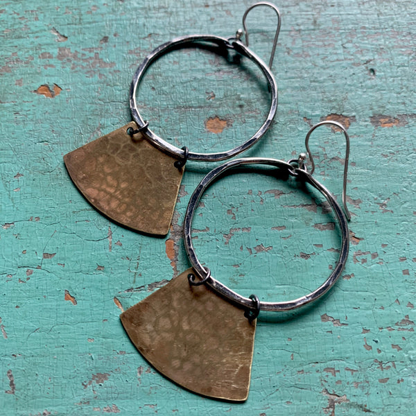 Mezzaluna Earrings - small silver hoop, hammered light brass blade