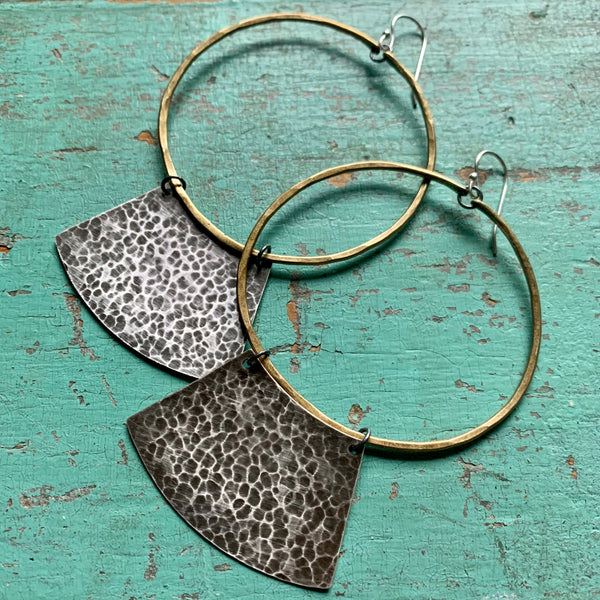 Mezzaluna Earrings - large brass hoop, hammered silver blade