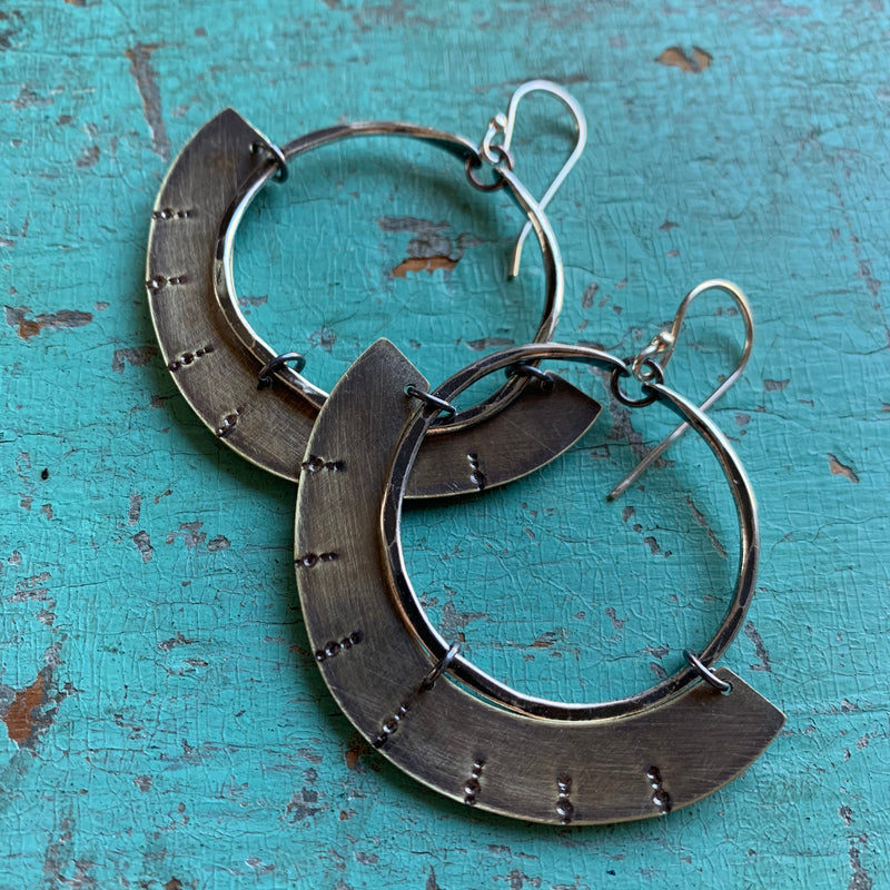Mezzaluna Earrings - Small silver hoop, thin stamped brass shape