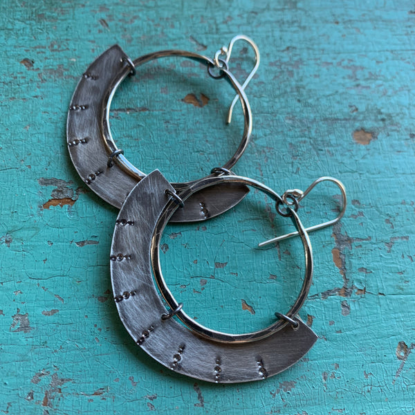 Mezzaluna Earrings - small silver hoop, thin stamped silver shape