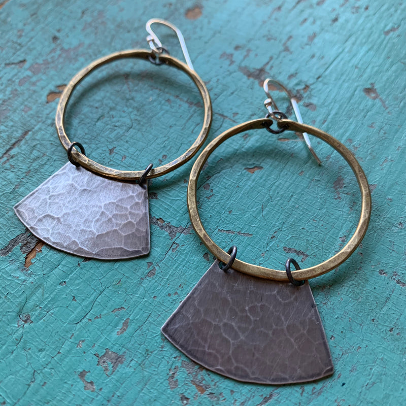 Mezzaluna Earrings - small brass hoop, hammered silver blade
