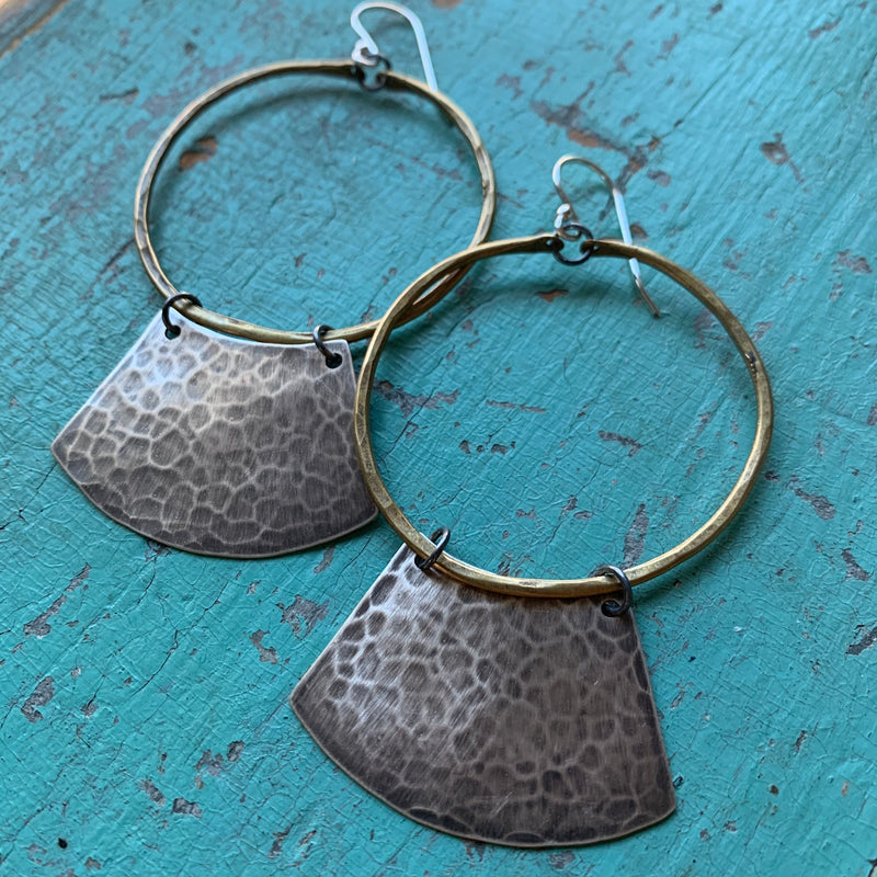 Mezzaluna Earrings - medium brass hoop, hammered silver blade
