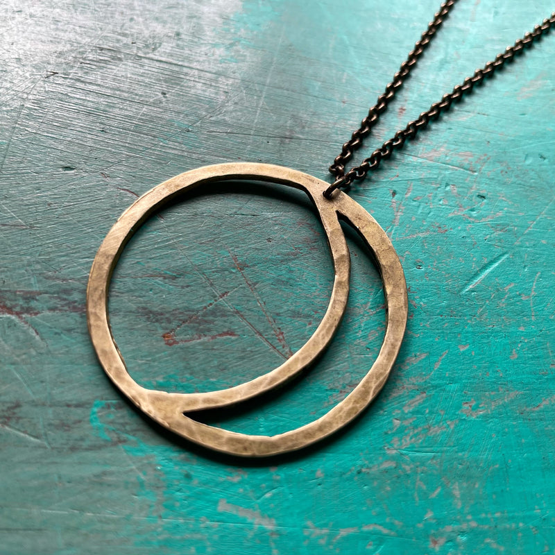 "NEW! XL BRASS ""OPEN"" MOON PENDANT NECKLACE"