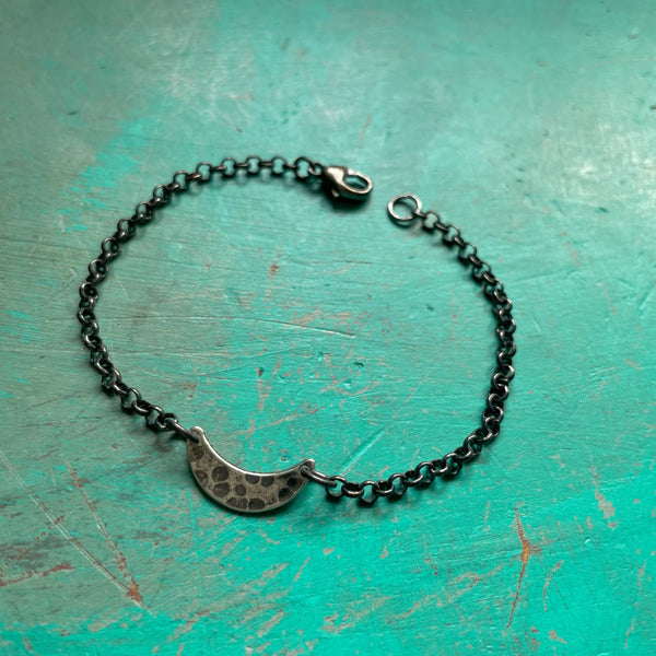 NEW! BRACELET: TINY Silver Crescent Moon with Heavy Sterling Silver Chain