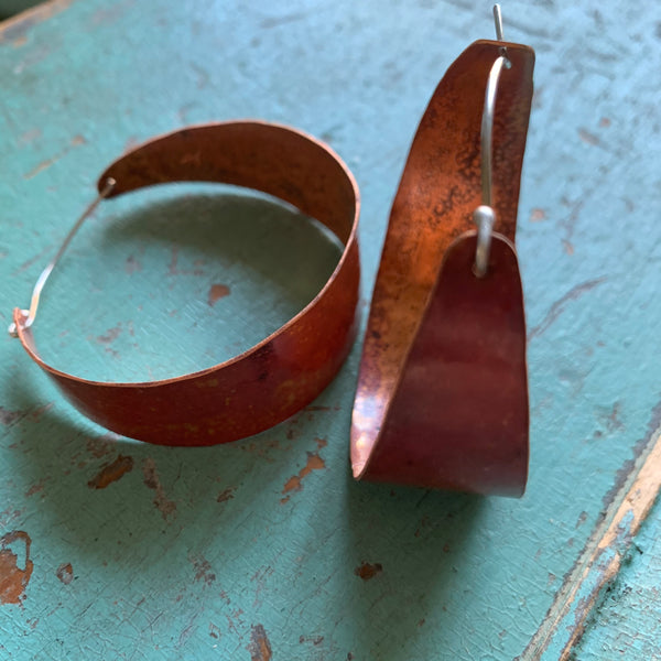 Large, Wide Copper Hoop Earrings