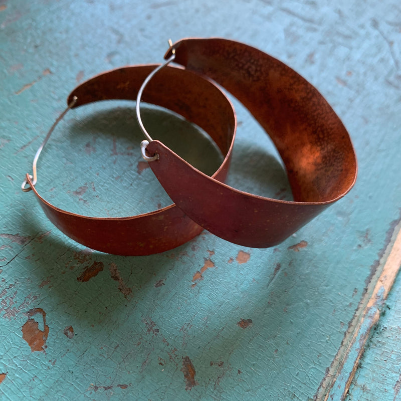 XL Copper Hoop Earrings