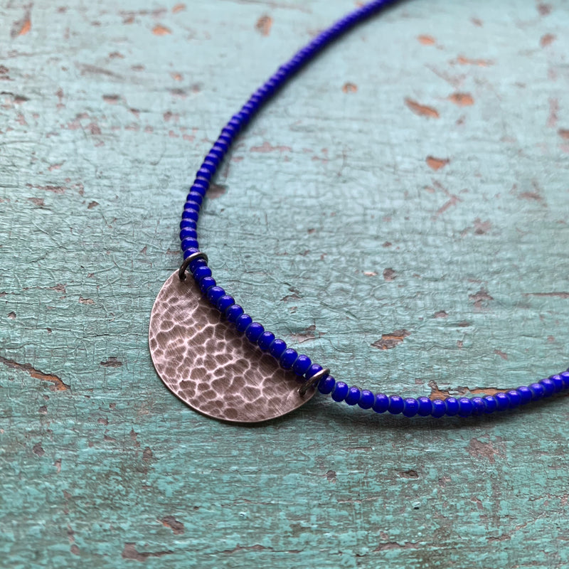 Silver Half Moon Necklace with Blue Beads