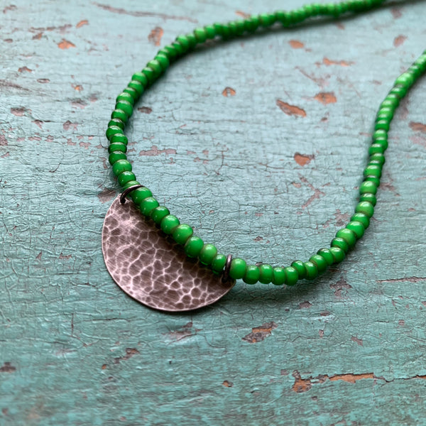 Silver Half Moon Necklace with Green Beads