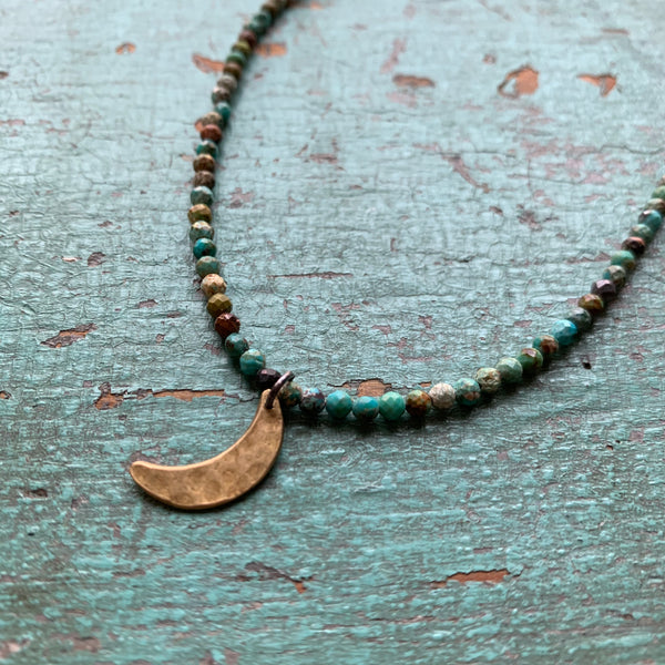 Brass Crescent Moon Necklace with Turquoise