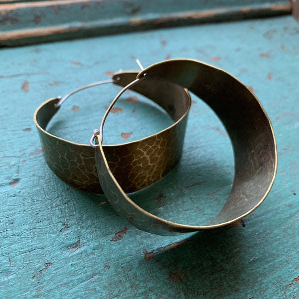 Large, Wide Brass Hoop Earrings