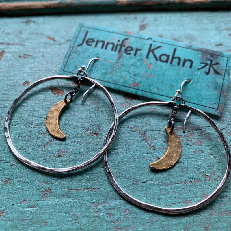 Medium Moon Hoops - Silver hoops with Brass Moons