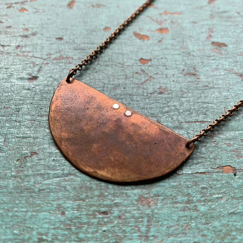 Hammered Crescent Necklace - Brass