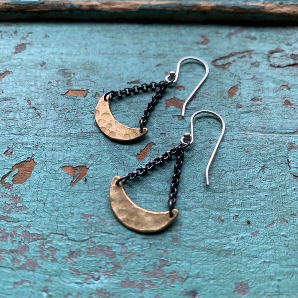 Tiny Brass Crescent Dangle Earrings