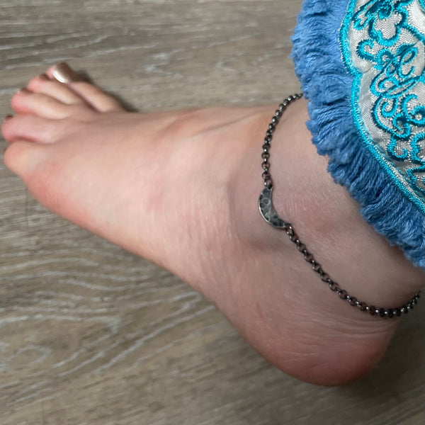 NEW! ANKLET: Sterling Silver small Crescent Moon