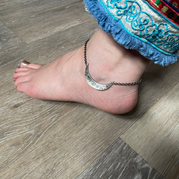 NEW! ANKLET: Sterling Silver XL Crescent Moon