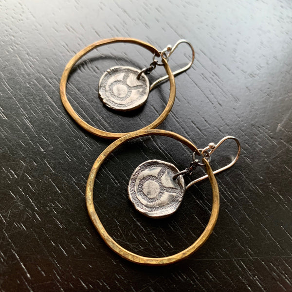 Zodiac Hoops: Sterling Medallion in Small Brass Hoops