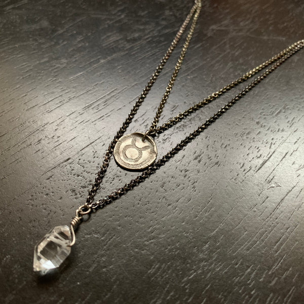 Zodiac Pendant: Sterling Medallion Double Strand with Herkimer Diamond