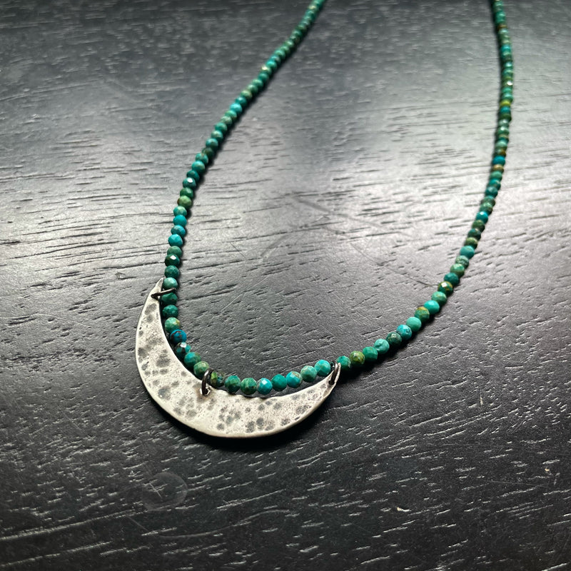 NEW! XL Silver Crescent Moon Necklace with Turquoise Beads