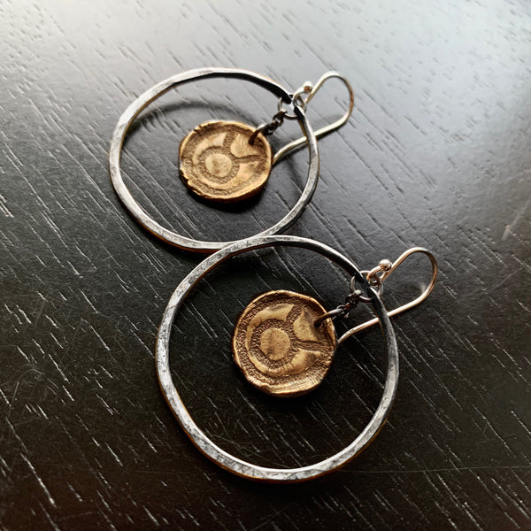Zodiac Hoops: Brass Medallions in Small Silver Hoops