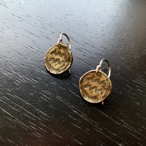 Zodiac Earrings: Brass