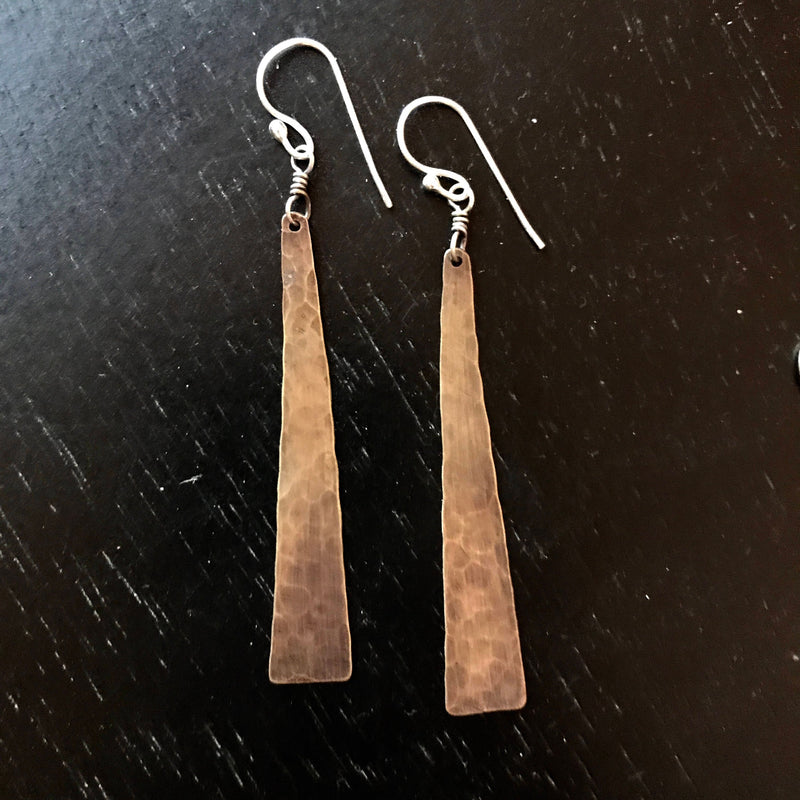 Medium Brass Taper Earrings