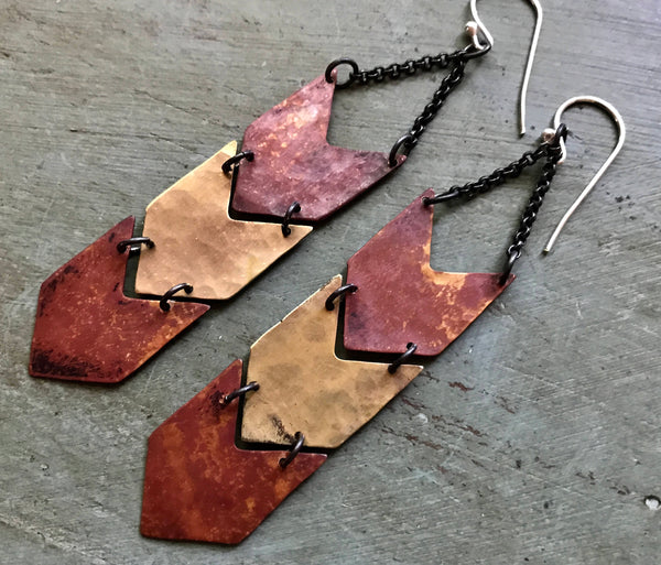 Triple Mixed Chevron Earrings - Copper and Brass
