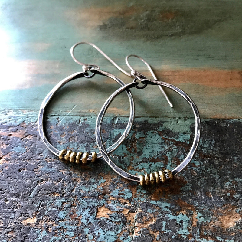 Small Silver Hoop Earrings with Brass Heishi